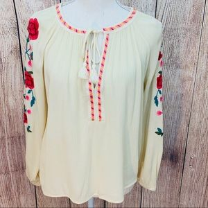 Women's GB Floral Embroidered Peasant Blouse
